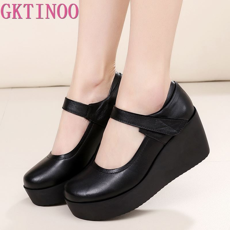 GKTINOO 2019 Spring Genuine Leather Women Pumps Platform Wedges Round Toes Ankle Strap High Heel Women Shoes