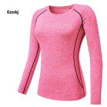 Women Long Sleeve Sports T Shirts Compression BaseLayer Tops Yoga Running shirts Slim Stretch Elasticity Sports Blouse