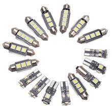 16 pezzi/set XC90 auto luci interne luci LED bianco luce DC12V luce di lettura della lampada di larghezza 2003-2011 modelli