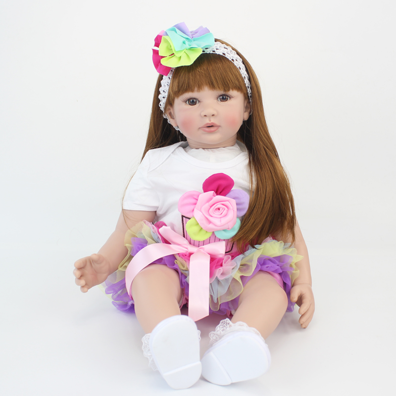 60 cm Silicone Reborn Bébé Poupée Jouets Comme Réel Vinyle Princesse Toddler Bébés Poupées Filles Bonecas D'anniversaire Cadeau Présent Jeu maison