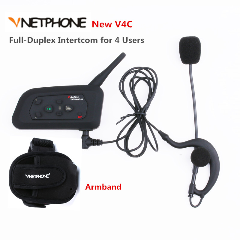 Vnetphone Football Referee Full-duplex Bluetooth Intercom Headset 1200M Full Duplex BT Interphone Earphones +FM for 4 Users 1PCS