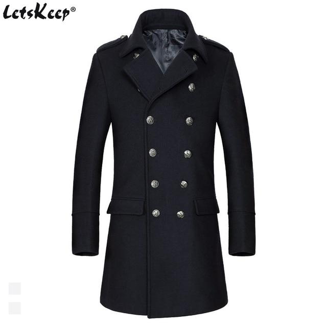 Letskeep зимнее шерстяное длинное пальто Для мужчин Повседневное Slim Fit Double Breasted Peacoat Для мужчин S Бизнес смеси Тренч, ma442