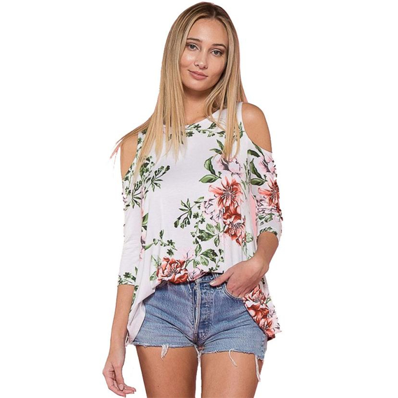 Off Shoulder Womens Pullover Ladies Casual Round Neck Tops Three-Quarter Sleeve Floral Print Chiffon Elegant Blouse #TH