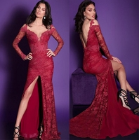 Red Lace Long Mermaid Prom Dresses 2017 Sexy Split Long Sleeves Evening Prom Gowns Sweetheart Sweep