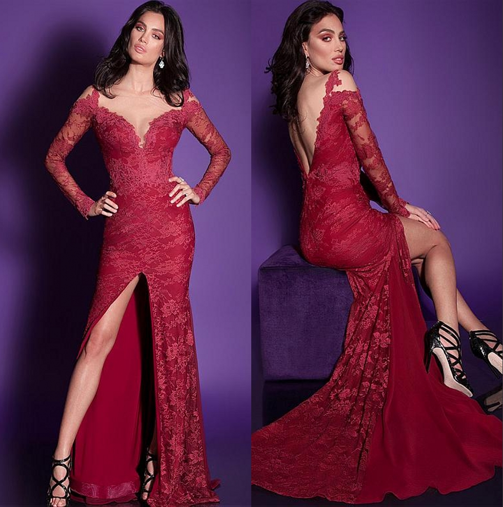 Red Lace Long Mermaid Prom Dresses 2017 Sexy Split Long ... Lace Mermaid Prom Dresses 2014