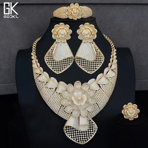 Image 3 - GODKI Luxe Zonnebloem Afrikaanse Lariat Sieraden Sets Voor Vrouwen Wedding Kubieke Zirkoon Crystal CZ DUBAI Zilveren Bruids Sieraden Sets