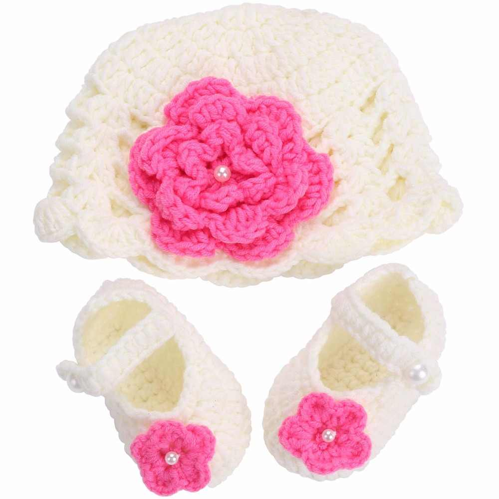 23e96cad3a492 Detail Feedback Questions about Flower Baby Shoes Girls Hat Crochet ...