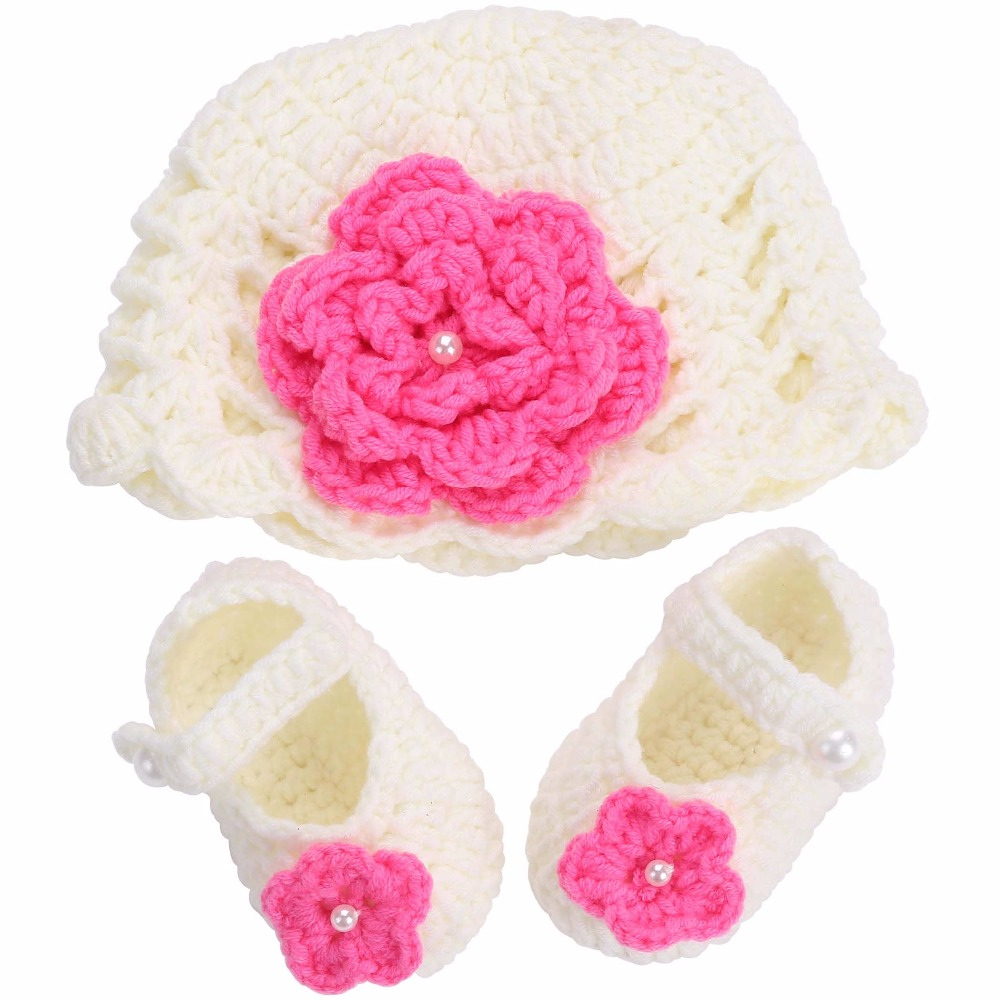 Flower Baby Shoes Girls Hat Crochet Photography Props Set