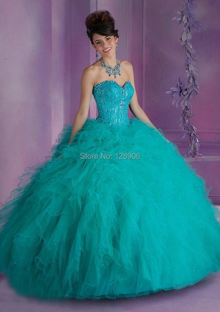 Hermosa 2015 Red vestido de Quinceanera vestidos de bola del amor rebordeado Tulle del corsé dulce