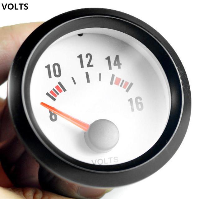 EE apoio Automóvel Voltímetro Relógio Casca Preta Mostrador Branco Azul Led Ponteiro Indicador Volt Calibre 52mm Medidor de Tensão Automática XY01