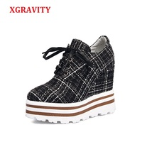 XGRAVITY Bahar Sonbahar Kalın Tek Kadın Süper Yüksek Topuk Kama Ayakkabı Zarif Kadın Casual Platformu Ayakkabı Moda Dantel Kadar A044