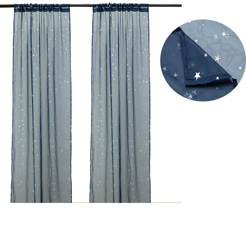 1pc Curtains 5 Colors 2m Solid Color Curtains Stars Pattern Micro Light Decorative Home Essential Tools