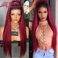 Sus raíces Burdeos Brasileño Virginal Llena Del Cordón Peluca de Cabello Humano de Color Rojo pelucas Rectas Sedosas Pelucas Del Frente Del Cordón de Dos Tonos Ombre Peluca de Pelo