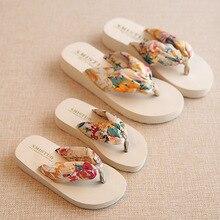Gadis dan Ibu Pencocokan Sandal Pantai Bohemia Parent Hand Drag Bunga Non-Slip Summer Slipper Holiday Travel Beach Shoes