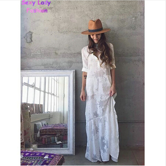 17aedcf553 2016 Women BOHO Slit Side Lace White Chiffon Maxi Dress New Spring Summer  Lapel Long Sleeve Beach Long Dresses blouse shirt