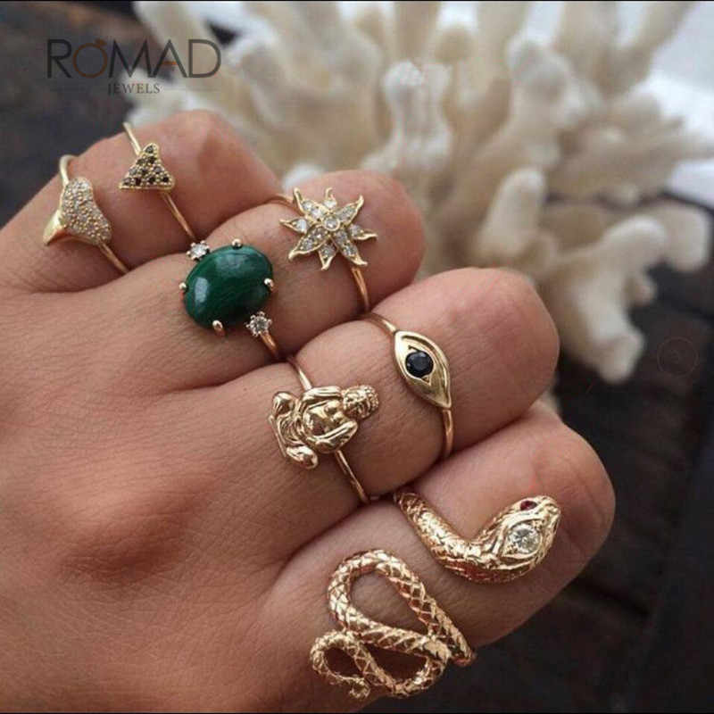 Romad Retro Green Stone Ring Set For Women Girl Punk Snake Flower Crystal Gold Ring Wedding Band Party Jewelry 7 Pcs/ Set W3