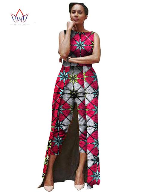 Mujeres del mono 2017 Mono Del Verano Ropa Del Mono de Las Mujeres de África 2 Combinaison Femme Maxi Personalizado Tamaño 6XL Marca BRW WY503