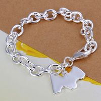 925 Jewelry Silver Plated Bracelet 925 Jewelry Jewelry Dog Tags Thick Bracelet H271