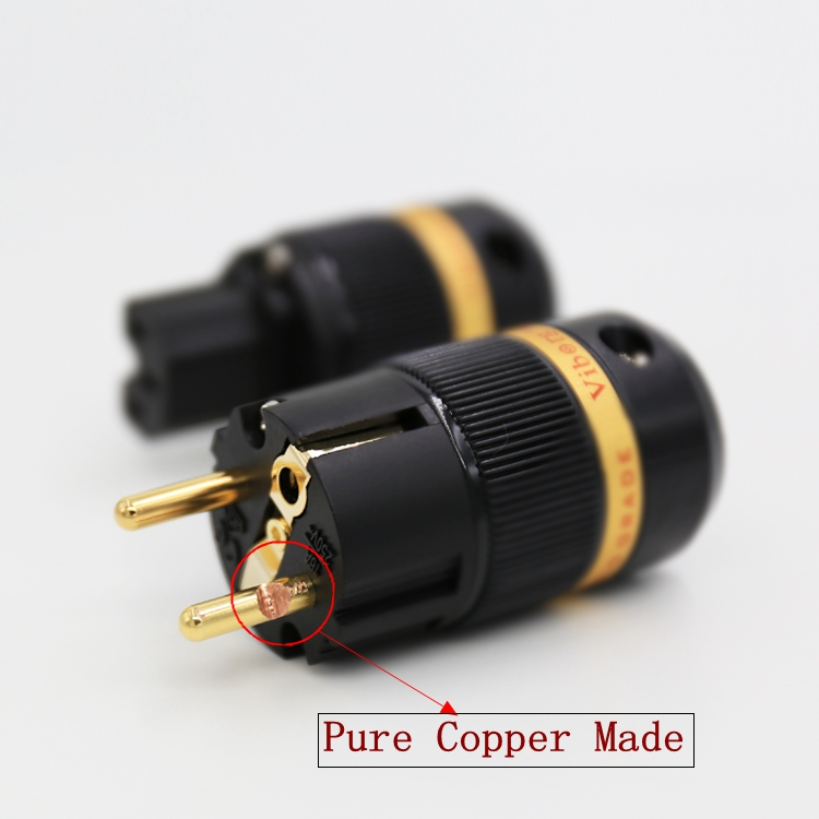 Viborg VE501G+VF501G 99.99% Pure Copper 24K Gold Plated Schuko Power Plug Connector IEC Female Plug DIY Mains Power Cord Cable купить в Москве 2019