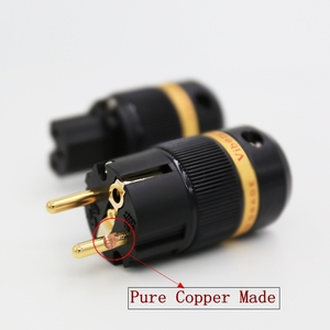 Image 1 - Viborg VE501G+VF501G 99.99% Pure Copper 24K Gold Plated Schuko Power Plug Connector IEC Female Plug DIY Mains Power Cord Cable