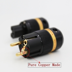 Viborg VE501G + VF501G 99.99% cobre puro 24 K chapado en oro enchufe de alimentación de Shuko conector IEC hembra enchufe DIY cable de alimentación Cable