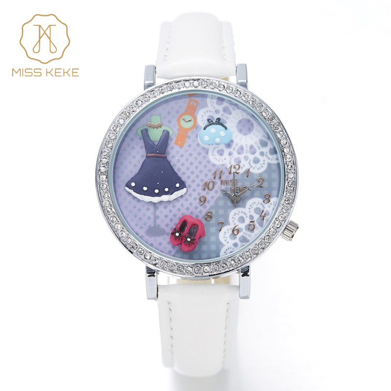 MISS KEKE gliny słodkie 3D mini świat dziewczyny sukienka Rhinestone zegarki kobiety moda Relogio Feminino Panie skórzane Na Rękę 202