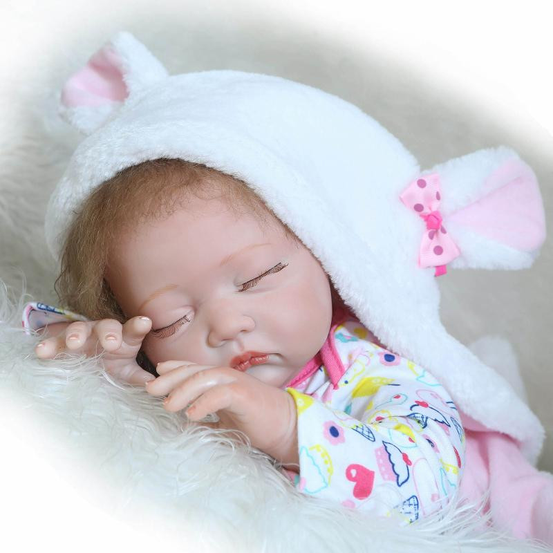 Buy Realistic Silicone Reborn Baby Dolls 22 Inches 55 cm Cute Close Eyes Sleep Newborn Babies Lifelike Cheap Reborn Baby Girl Dolls