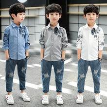 72afee69e Camisa de algodón para niño 4 5 6 7 8 9 10 11 12 13 años otoño Blusa de manga  larga para los niños adolescente de la Escuela Sup.