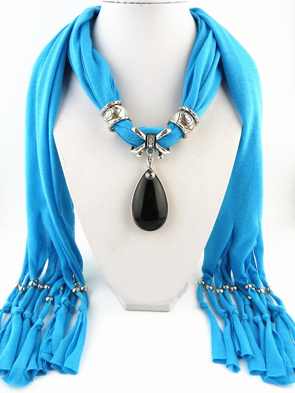 HONGHUACI Voile Jewelry Tassels Necklace Pendant Neckerchief Women Cotton Scarf free shipping in Women 39 s Scarves from Apparel Accessories