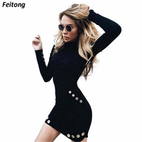Women Sexy High Necked Long Sleeve Punk Gothic Dress Clothes Hole Slim Autumn Black Dress Nightclub