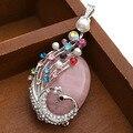 Colorful Rhinestone Beads Peacock Wrap Gems Quartz Pendant for DIY Necklace Rose Quartz