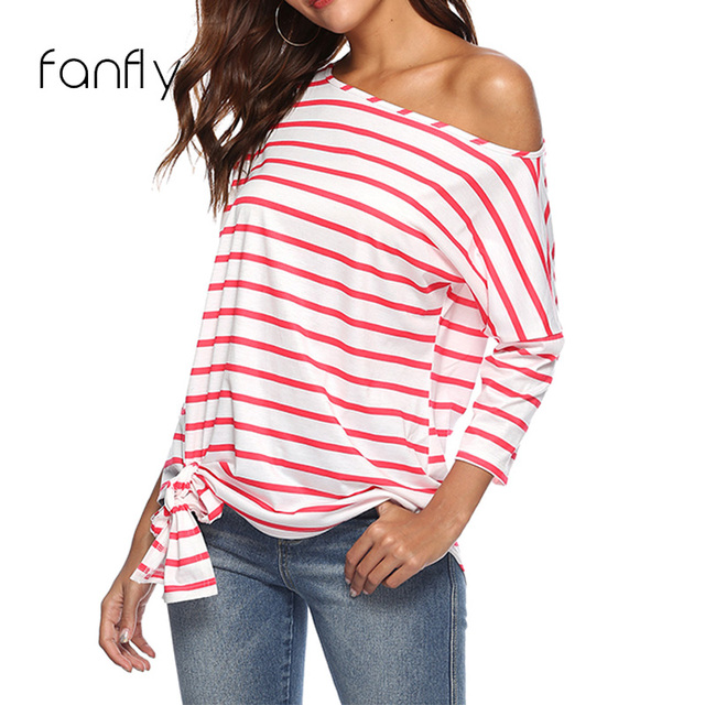 b3e9298092ae2f Casual Red White Striped T Shirt Women Long Sleeve Off Shoulder Top Sexy  Tee Shirt Femme
