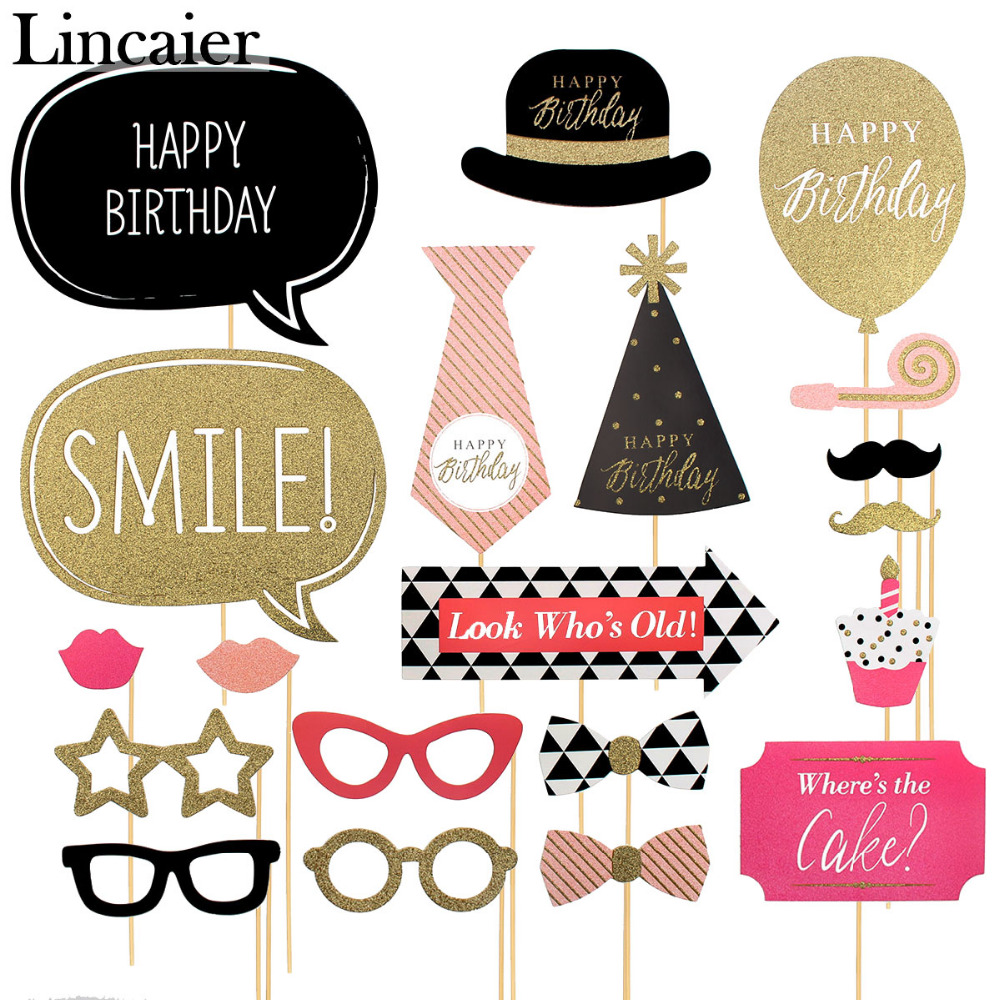 Big happy birthday badges party products party delights - Lincaier 20 Pieces Happy Birthday Photo Booth Props Party Decorations Supplies Adult Photobooth 21 18 60