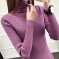 Short design female turtleneck sweater basic shirt long-sleeve pullover thickening slim white tight-fitting sweater female