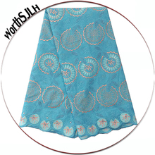 WorthSJLH Sky Blue Cotton Swiss Voile Lace In Switzerland African Materials Teal Dry Fabric 2019 High Quality
