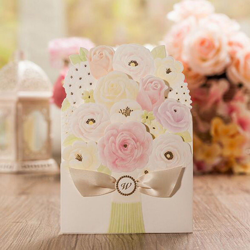 50pcs Colorful Flower Laser Cutting Marriage Wedding Invitation Card Customizable Printable With Blank Envelopes Party Supplies 1 design laser cut white elegant pattern west cowboy style vintage wedding invitations card kit blank paper printing invitation