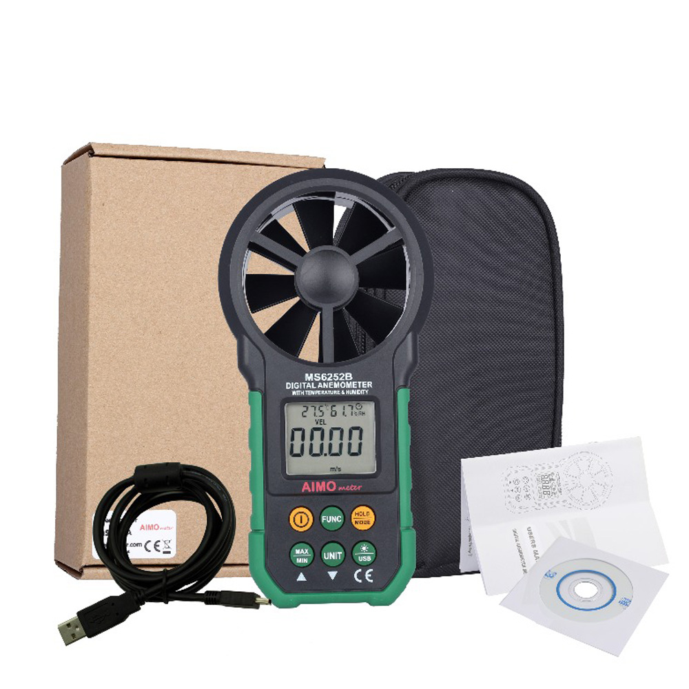 Aimometer MS6252B Digital Anemometer Temperature Humidity Sensor Air Wind Speed Velocity Meter USB Interface tl 300 digital lcd air temperature anemometer air velocity wind speed meter