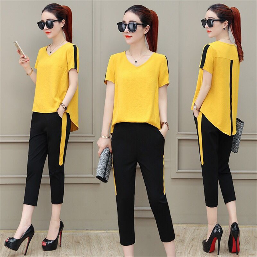 Fashion Printed 2 Pcs Set 2019 Summer Short Sleeve Casual Woman Sets Clothes Plus Size Female 2 Piece Tracksuit SportSuit Women