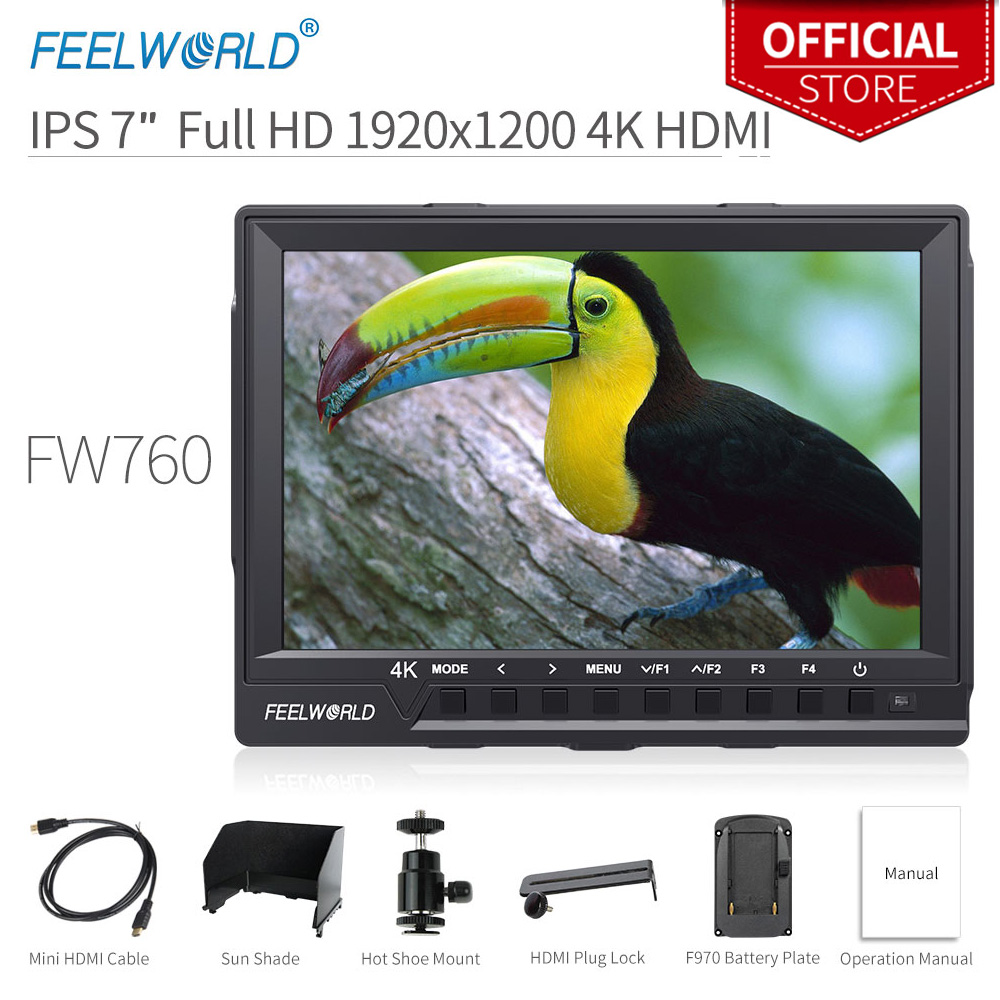 Feelworld 7 Inch IPS 4K Full HD 1920x1200 HDMI On-Camera Field Monitor with Peaking Focus Assist Histogram Zebra FW760Feelworld 7 Inch IPS 4K Full HD 1920x1200 HDMI On-Camera Field Monitor with Peaking Focus Assist Histogram Zebra FW760