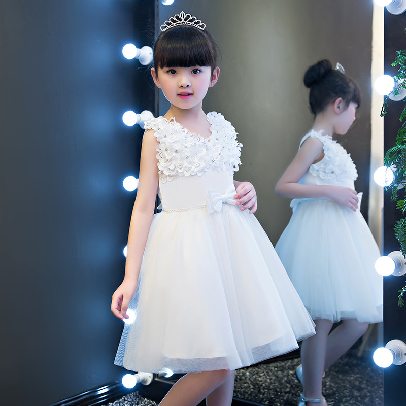 2017 Summer new Kids baby Girl Flower Petals Dress Children Bridesmaid Toddler Pageant Vestido Infantil Tulle Formal Party Dress