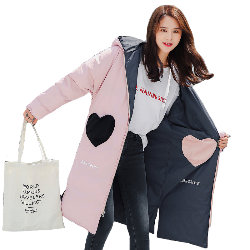 2019 New Design Both Two Side Can Be Wore Winter Jacket Women Hooded Lovely Sweet Outwear Female Coat Long Parka Winter Parkas(China)