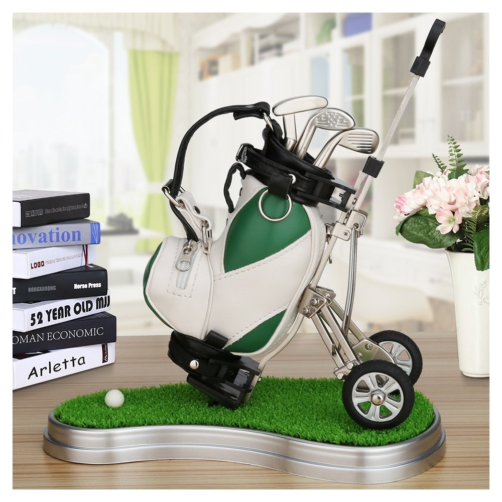 Golf Gift Mini Golf Pen Holder Creative Pen Container with three golf club shape ballpoints 4 colors to choose