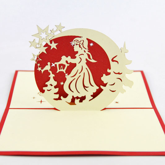 Qubiclife Christmas lantern girl moon goddess cards wholesale company custom stereo