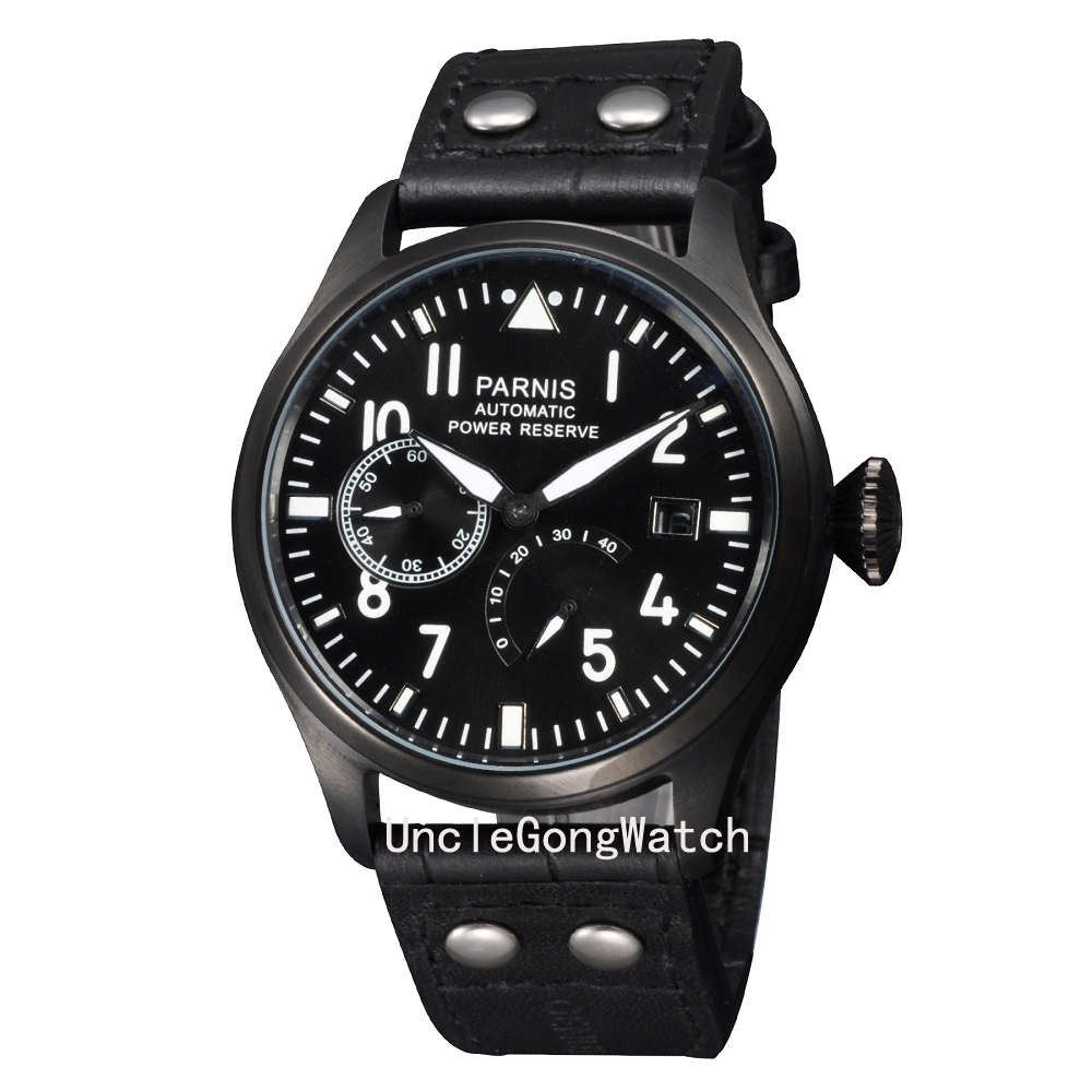 47mm Parnis Power Reserve Watches , 2530 Movement Mens Automatic Clock, Black PVD Coated Timepieces PA4705PB power reserve 1x