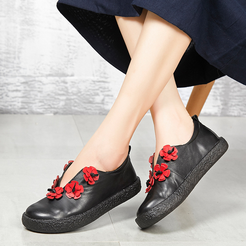 Hechas Zxryxgs A Mano Nuevo Otoño Suave Negro Lleno Casual Planos Mujer Moda Cuero Genuino Marca Flores Zapatos Comodidad 2018 XqYY4rI