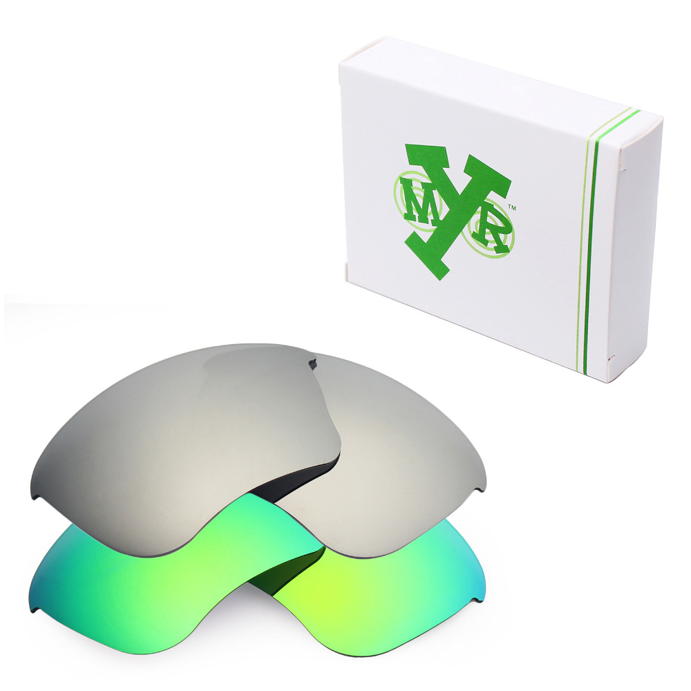 61d4a13cb7 2 Pairs Mryok POLARIZED Replacement Lenses for Oakley Half Jacket XLJ  Sunglasses Silver Titanium   Emerald Green