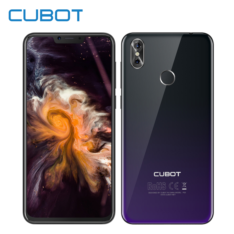 "Cubot P20 6.18"" 19:9 Notch Screen Smartphone Android 8.0 4GB 64GB MT6750T Octa Core 20MP+13MP Fingerprint Mobile Phone 4000mAh"