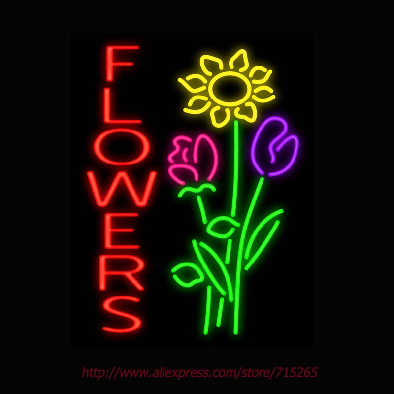 Neon Sign Flowers Real Glass Tube Handcrafted neon signs Store Display Decorate ADVERTISE Design Attract Signs 31x24