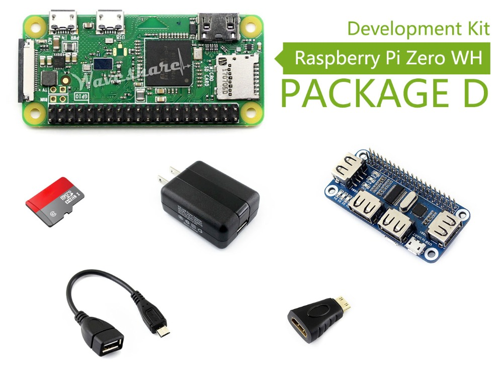 Raspberry Pi Zero WH (built-in WiFi, pre-soldered headers) Type D, Micro SD Card, Power Adapter, USB HUB, Basic Components raspberry pi zero w package e basic development kit 16gb micro sd card power adapter 2 13inch e paper hat and basic components