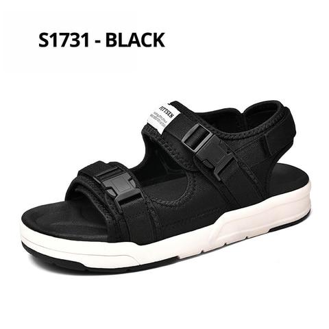SUROM Summer Beach Flats Sandals Men Shoes Casual Outdoor Fashion Comfortable Lightweight Gladiator Sandals for Men Black New Multan
